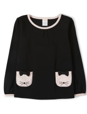Girls Cat Pocket Top - Puuurfect In Paris