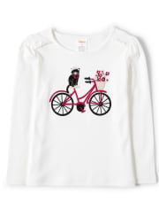 Girls Embroidered Bike Top - Puuurfect In Paris