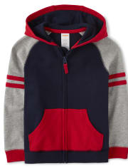 Boys Colorblock Zip Up Hoodie - All Aboard