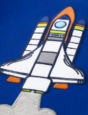 Unisex Embroidered Rocket Ship Top - Future Astronaut