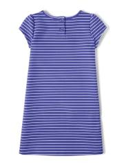 Girls Striped Ponte Shift Dress - Hello Dino