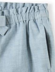 Girls Chambray Shorts - Pretty Peach