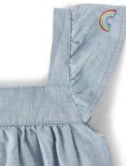 Girls Embroidered Rainbow Chambray Dress - Sunshine Time