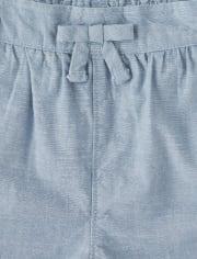 Girls Embroidered Rainbow Chambray Shorts - Sunshine Time