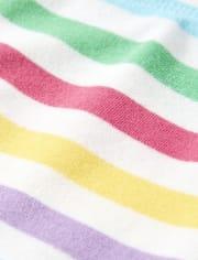Girls Rainbow Striped Shorts - Sunshine Time