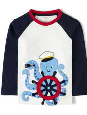 Boys Embroidered Sailor Octopus Top - All Aboard
