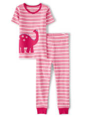 Girls Dino Cotton 2-Piece Pajamas - Gymmies