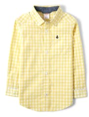 Boys Embroidered Gingham Button Up Shirt - Country Club