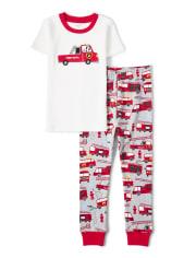 Boys Firetruck Cotton 2-Piece Pajamas - Gymmies