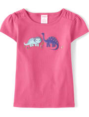 Girls Embroidered Top - Hello Dino