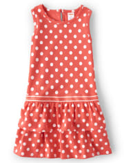 Girls Polka Dot Ruffle Dress - Pretty Peach