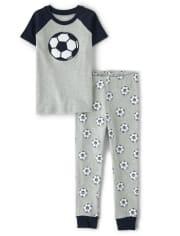 Boys Ready, Set, Goal Cotton 2-Piece Pajamas - Gymmies