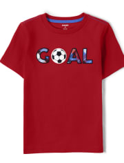 Boys Embroidered Goal Top - Ready, Set, Goal