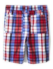 Boys Plaid Pull On Shorts - Ready, Set, Goal