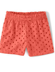 Girls Eyelet Shorts - Pretty Peach