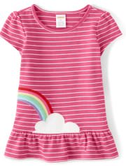 Girls Embroidered Rainbow Peplum Top- Sunshine Time