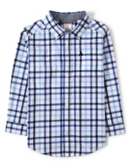 Boys Embroidered Plaid Button Up Shirt - Country Club