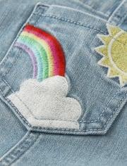 Girls Embroidered Rainbow Denim Shortalls - Sunshine Time