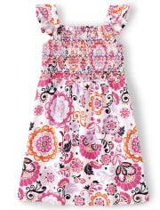 Girls Floral Smocked Dress - Summer Sunsets