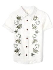 Boys Leaf Button Up Shirt - Safari Camp