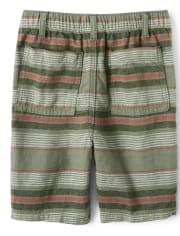 Boys Striped Linen Pull On Shorts - Safari Camp