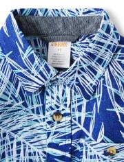 Boys Palm Leaf Button Up Shirt - Island Getaway