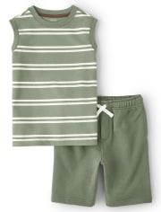 Boys Striped Tank Top And Shorts Set - Safari Camp