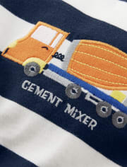 Boys Truck Striped Top - Mr. Fix It