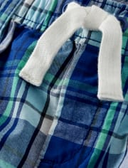 Boys Plaid Pull On Shorts - Critter Camp