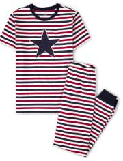 Unisex Adult Striped Star Cotton 2-Piece Pajamas - Gymmies