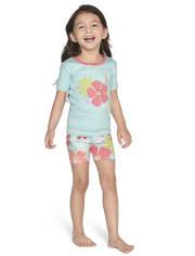 Girls Tropical Floral Cotton 2-Piece Pajamas - Gymmies