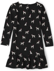 Girls Puppy Peplum Dress - Dalmatian Friends