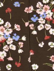 Girls Floral Ponte Jeggings - Western Skies