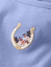 Girls Embroidered Horseshoe Dress - Western Skies