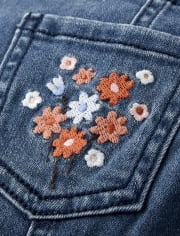 Girls Embroidered Floral Overalls - Western Skies