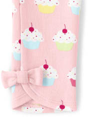 Girls Cupcake Bow Leggings - Birthday Boutique