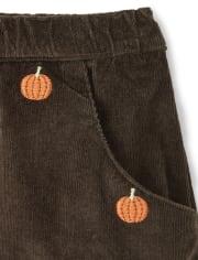 Girls Embroidered Corduroy Skort - Lil Pumpkin