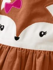 Girls Fox Corduroy Dress - Harvest