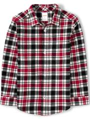 Boys Plaid Button Up Shirt - Fire Chief