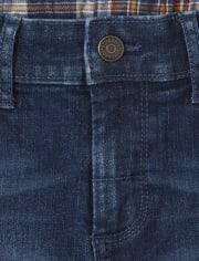 Boys Patch Roll Cuff Jeans - Western Skies