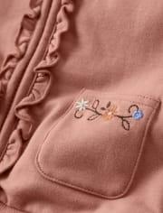Girls Ruffle Zip Up Hoodie - Western Skies