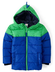 Boys Colorblock Puffer Jacket - Dino Dude