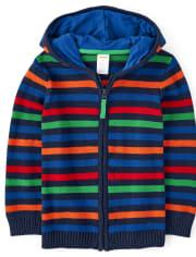 Boys Striped Zip Up Sweater - Dino Dude