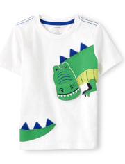 Boys Embroidered T-Rex Top - Dino Dude