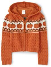 Girls Zip Up Sweater - Lil Pumpkin