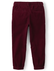 Boys Corduroy Pull On Jogger Pants - Critter Campout