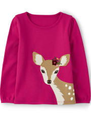 Girls Embroidered Deer Top - Tree House