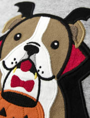 Boys Embroidered Dog Raglan Top - Lil Pumpkin
