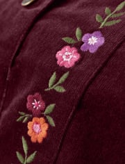 Girls Embroidered Floral Corduroy Skirt - Tree House
