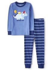 Boys Birthday Dino Cotton 2-Piece Pajamas - Gymmies